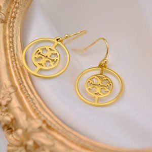 Tory Burch Cutout Round Logo Earrings